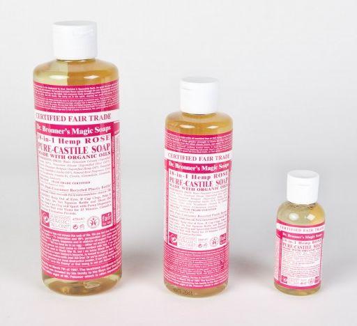 Savon liquide de rose composé d'huiles essentielles naturelles , Dr Bronners, 3,50€
