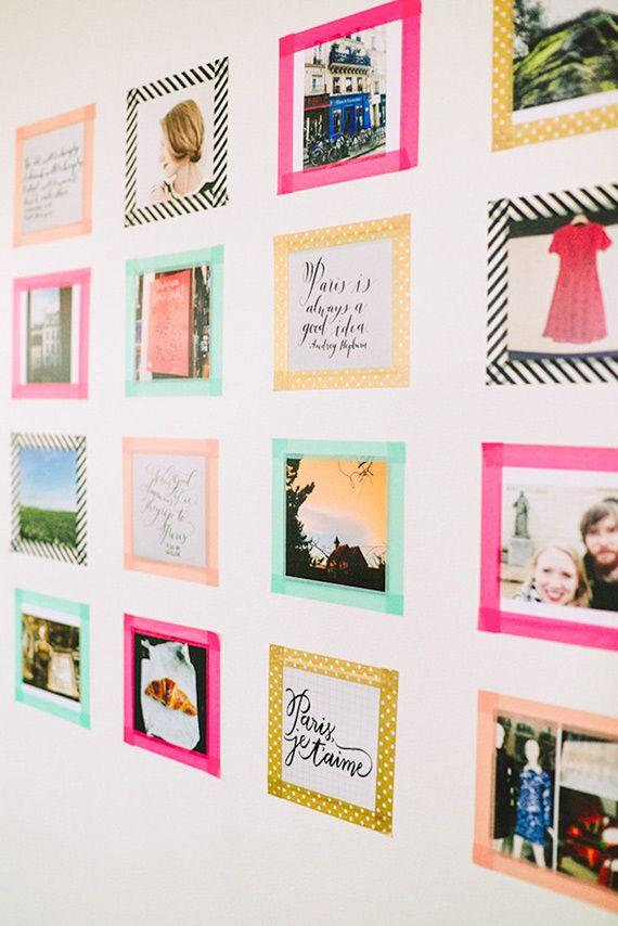 un mur de photos avec du masking tape rise and shine. Black Bedroom Furniture Sets. Home Design Ideas