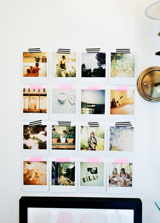 Un Mur De Photos Avec Du Masking Tape Rise And Shine